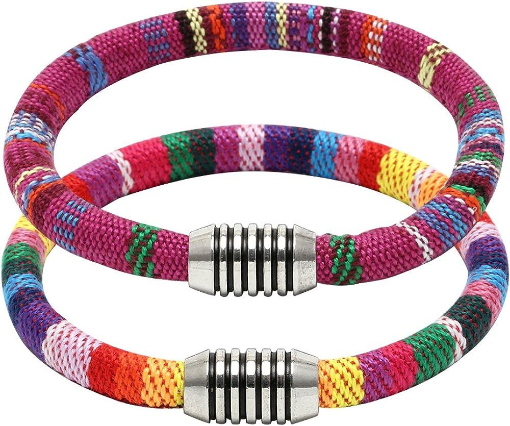 SOFYBJA 2PCS Double Strands Fabric Cord Cuff Bracelet Bangle Unisex Bohemian Jewelry