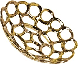 Urban Trends Ceramic Round Concave Tray with Perforated and Chain Link Design SM Polished Chrome Finish, Gold