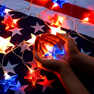 Frienda Independence Day Star String Light, 10 ft 20 LEDs USA American Stars Patriotic Decoration Battery Powered with 8 M...