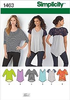 Simplicity 1463 Women`s Knit Top Sewing Patterns by Karen Z, Sizes XXS-XXL