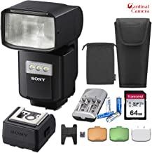 Sony HVL-F60RM External Wireless Radio Flash w/Sony Auto-Lock Shoe Adapter, Sony Carrying Case, 64GB Memory Card, 4X Pro Rechargeable AA Batteries with Charger + Standard Accessory Bundle & More