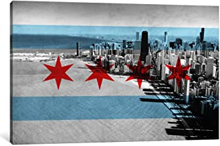 iCanvasART 1-Piece Chicago Flag Chicago Skyline Canvas Print by Kane, 0.75 by 18 by 12-Inch