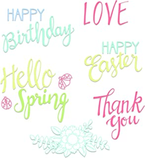 Sizzix 663587 Spring Phrases Stamps, One Size, Multicolor