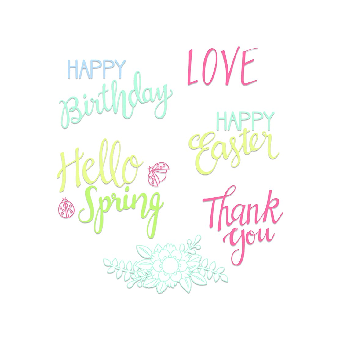 Sizzix 663587 Spring Phrases Dies, One Size, Multicolor