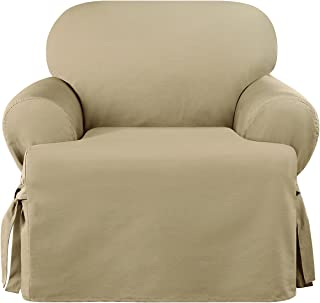 SURE FIT Heavyweight Cotton Duck One Piece Chair Slipcover - Khaki