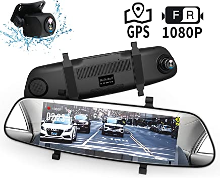 "$69 Get Mirror Dash Cam, DuDuBell 7"" Backup Camera with External GPS, 1080P Front and 1080P Rear Camera with Starlight Night Vision IPS Touch Screen 290° Wide Angle, Reverse Assistance Parking Monitor HDR+"