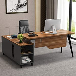 Tribesigns L-Shaped Desk, Large Executive Office Desk Computer Table Workstation with Storage Shelves, Business Furniture with File Cabinet Combo,Dark Walnut + Stainless Steel Legs