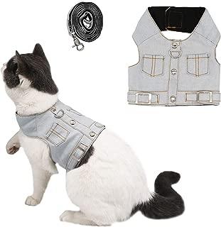 Ruri's Cat Jeans Jacket Harness Vest with Matching Lead Leash Set