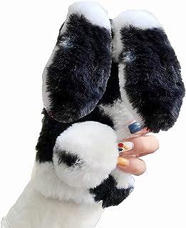 حافظة فرو البقرة الملونة من Mylne لهاتف Samsung Galaxy A30S، غطاء ماسي للفتيات غطاء ناعم للغاية في الشتاء دافئ مضحك آذان أ...
