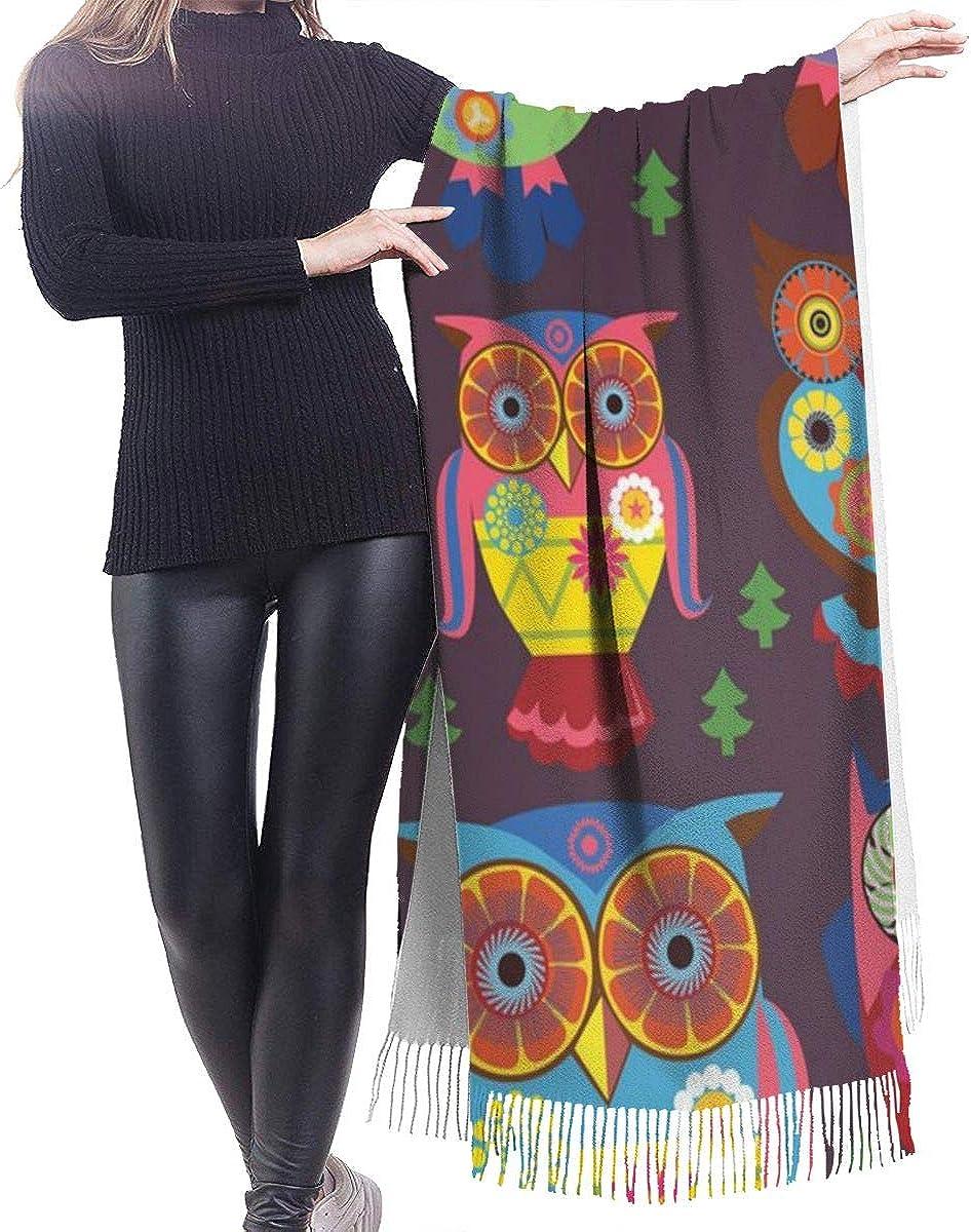 Owl Pattern Cashmere Shawl Wrap Scarf Large Warm Scarf For Women