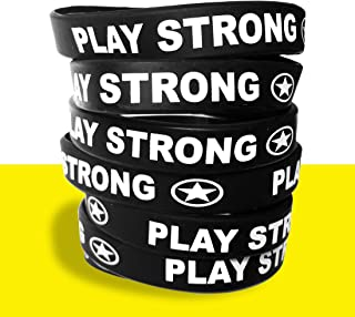 Motivational Wristband Bracelets (Black, 6-Pack, Classic 1/2 x 7 Youth Size) Durable Silicone Bracelets, Team Coach Athlete Motivation #AllProfitsToHelpKids