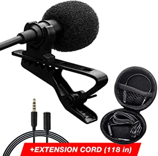 Professional Lavalier Lapel Microphone - Long Cord Lapel Mic - Iphone Microphone for Podcast YouTube Recording Interview Voice Dictation Speech - with Easy Clip-On System