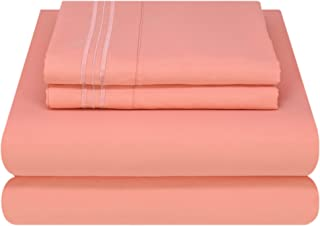 Mezzati Luxury Bed Sheet Set - Soft and Comfortable 1800 Prestige Collection - Brushed Microfiber Bedding (Coral Rose, Twin Size)