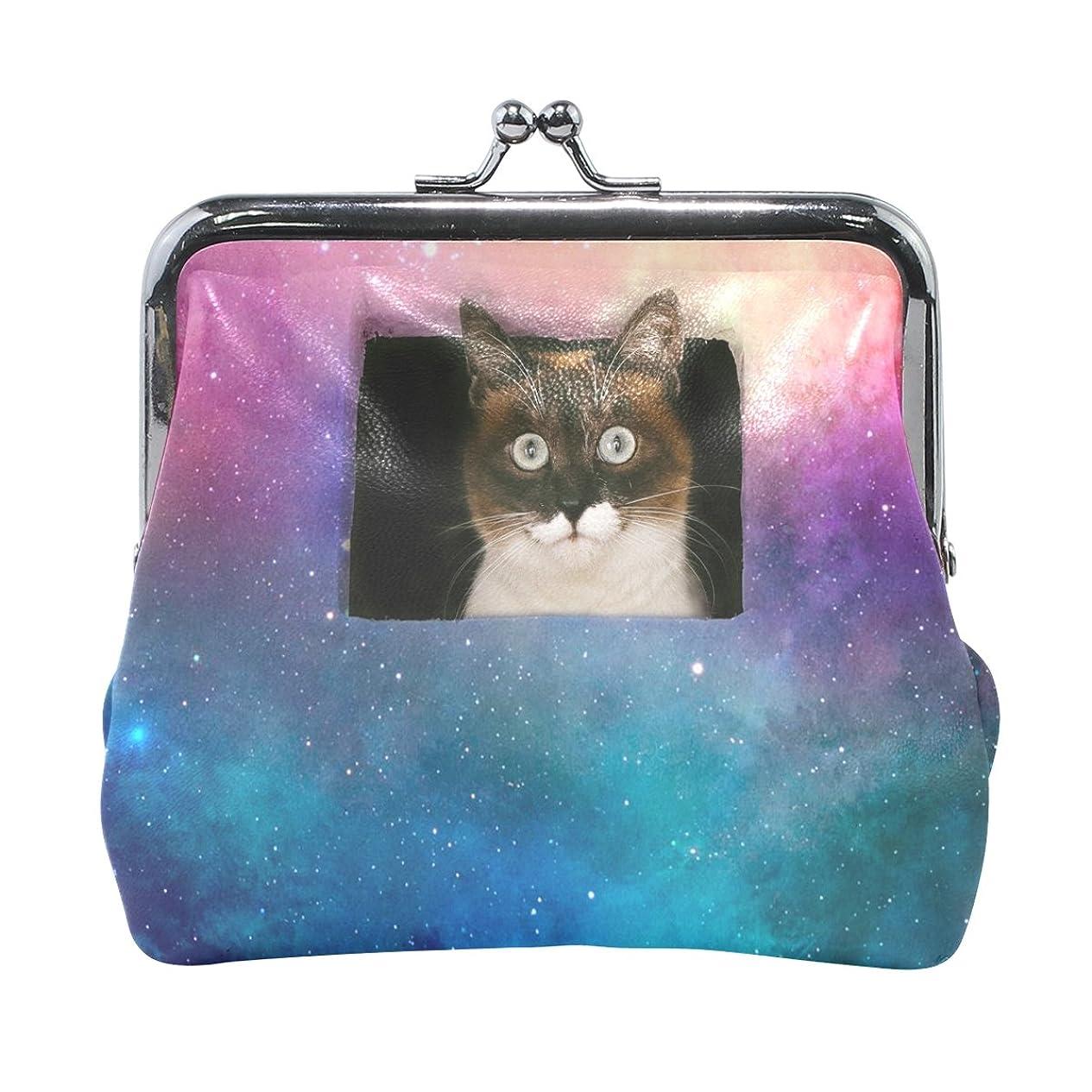 範囲シードスタイルAOMOKI 財布 小銭入れ ガマ口 コインケース レザー 星空 猫柄 かわいい 夜空