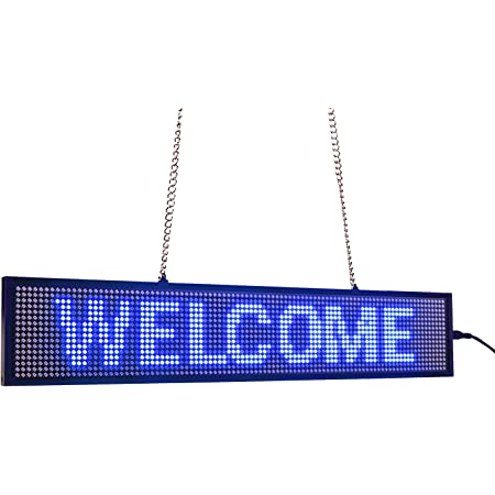 Leadleds Ultra-Thin Design P5mm 16X96 pixels SMD LED programmable message de défilement panneau de signe, PC Software change messages (Bleu)
