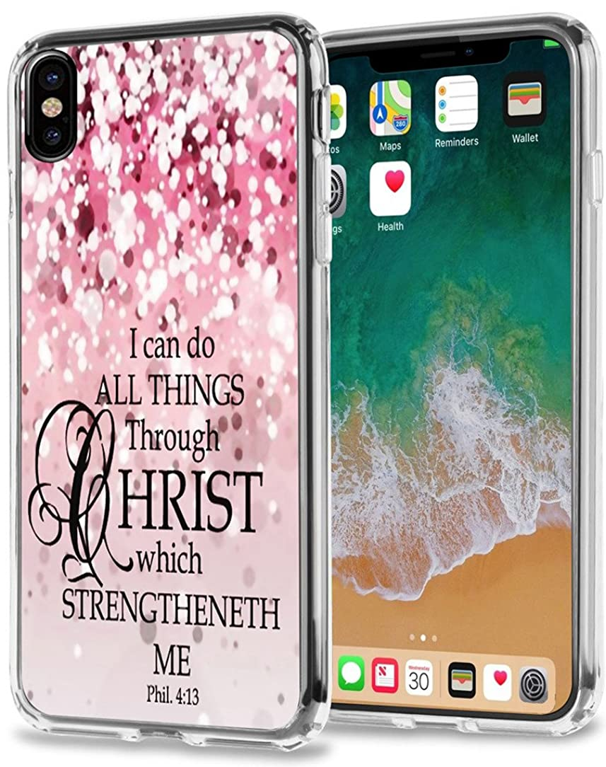 XS/X Case Bible Verse Protective - Topgraph [Exact Slim Fit Clear with Design Full Coverage] Bumper Compatible for iPhone X/XS/10/10S [Christian Jesus Clear Soft TPU]