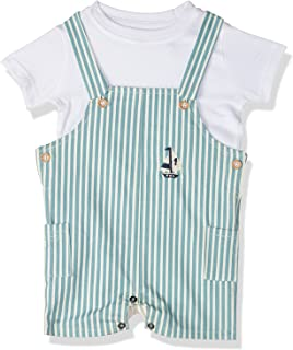 Giggles Striped Snap Closure Bodysuit with Short Sleeves T-Shirt For Boys