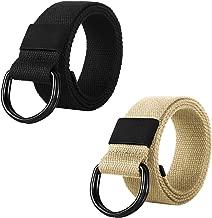 ITIEZY 2 Pcs Canvas Belt with Double D-Ring Buckle Web Belts Military Cloth Belts for Men