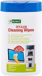 D.RECT Lot de 100 Lingettes Nettoyantes dans un Distributeur - Pour écrans TFT/LCD Ordinateur Portable Tablette, Multi Usa...