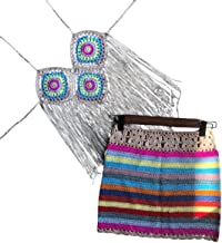 2PCS / SET Crochet Rainbow Halter Long Tassel Top& Skirts Bikini Cover Ups- One Size