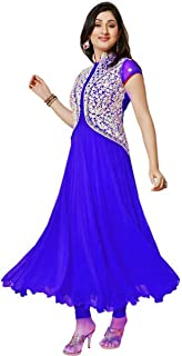 Florence Women's Georgette Embroidered Straight Salwar Suit(Semi-Stitched, Free Size)