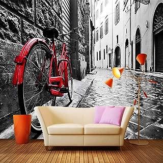 KAHSFA Custom 3D Wallpaper Retro Street View Bikes Black and White Photo Background Wall Decor Mural Wallpapers for Living Room Bedroom-300cmx210cm