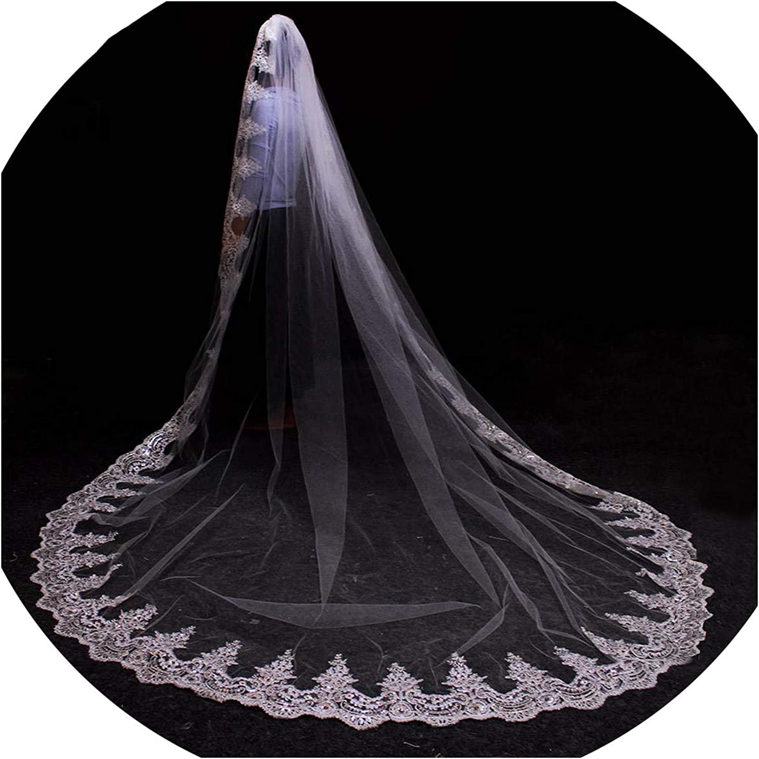 3 Meters White Ivory Cathedral Mantilla Wedding Veils Long Lace Edge Bridal Veil with Comb Wedding Accessories Bride,Ivory,300cm