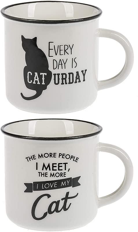 Ganz Black And White Pet Cat Mugs Set Of 2 Assorted
