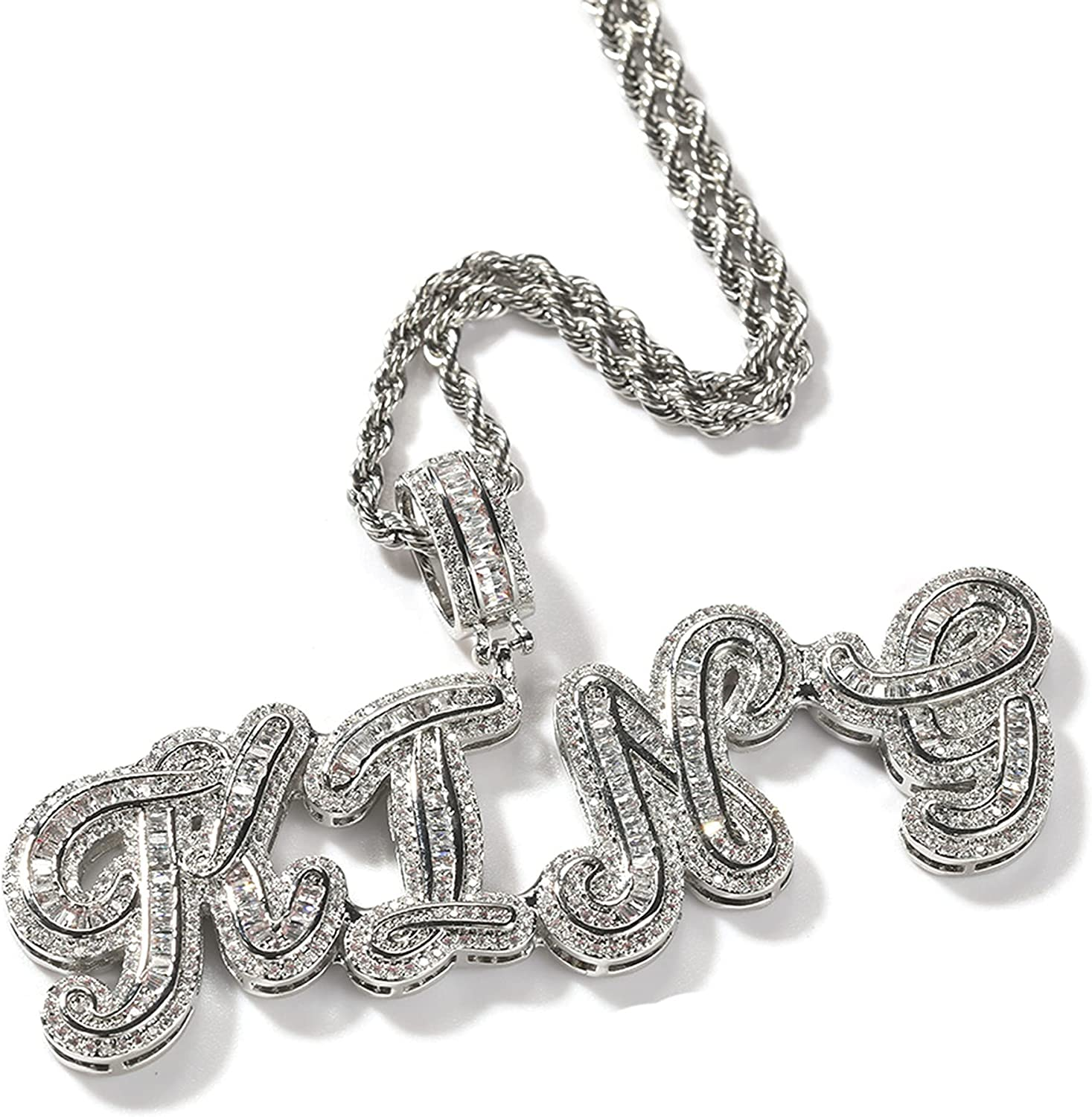 Custom Made Hip Hop 即出荷 Crystal 新品■送料無料■ I Personalized Necklace Name Pendant