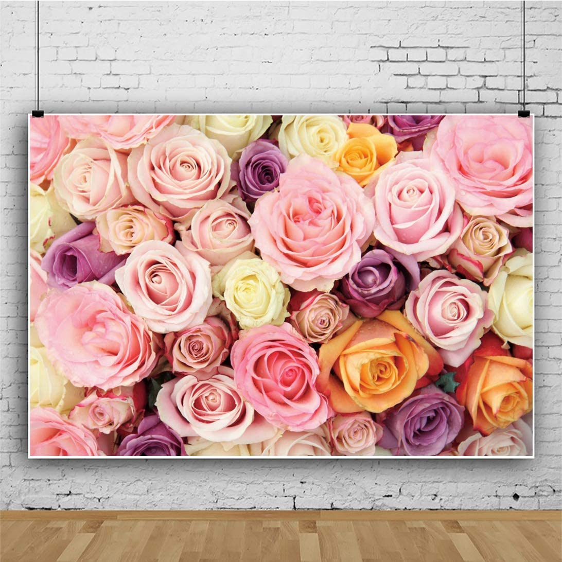 Haoyiyi 7x5ft Vintage Backdrop for Wedding Background Romance Colorful Artificial Flowers Floral Photography Photo Lover Indoor Bedroom Decorative Mothers Day Valentines Day Supplies