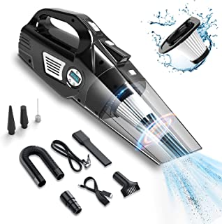 helloleiboo Car Vacuum 4 in 1 Handheld Cordless Air Compressor Pump 6000Pa Rechargeable Vacuum Cleaner with LED Light