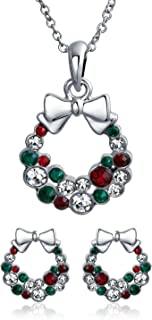 Fashion Sparkling Christmas Bow Red Green White Crystal Holiday Wreath Pendant Necklace Stud Earrings Jewelry Set for Wome...
