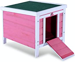Lovupet Small Wooden Bunny Rabbit Hutch-Guinea Pig House-Small Animal House 0325 (Pink)