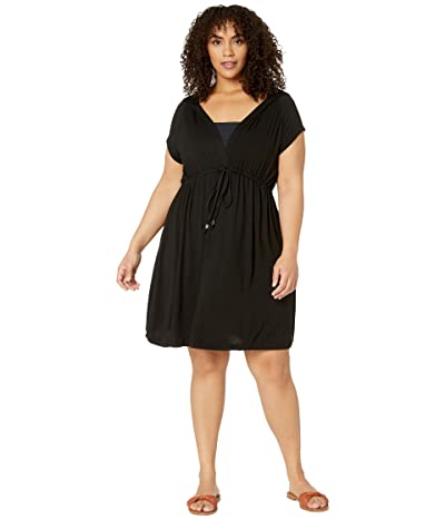 DOTTI Plus Size Resort Solids Raglan Hoodie Dress Cover-Up (Black) Women