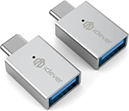 [2 Pack] iClever IT01 Type-C to USB 3.0 AF Adapter for MacBook Pro, MacBook Air, The Lumia 950, Lumia 950 XL, OnePlus 2, Nokia N1, Lenovo Zuk Z1, Nexus 5X, Nexus 6P and More,Grey