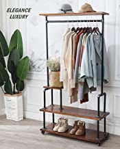 Clothing Rack, Industrial Pipe Style Rolling Garment Rack, Hall Tree on Lockable Wheels with Shelf and Shoes Storage , Heavy Duty Clothes Rack for Laundry Room, Retail Store, Rustic Wood, Black Pipe.