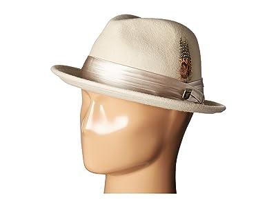 Stacy Adams Crush Wool Felt Fedora (Cement) Fedora Hats