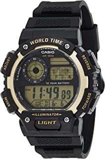 Casio G-Shock Gold Black Rubber Casual Watch For Men - AE-1400WH-9AVDF, Resin