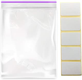 """2"""" x 3"""" (100 Pcs) Small Ziplock Bags with 100 Pcs Stickers Labels - 2 Mil Reclosable Zipper Storage Plastic Bags for Jewel..."""