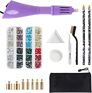 Hotfix Applicator Tool, Bedazzler Kit with DIY Hot Fix Rhinestones Include 7 Tips, Support Stand Tweezers Cleaning Brush Wax Pencils and 2400 Rhinestone