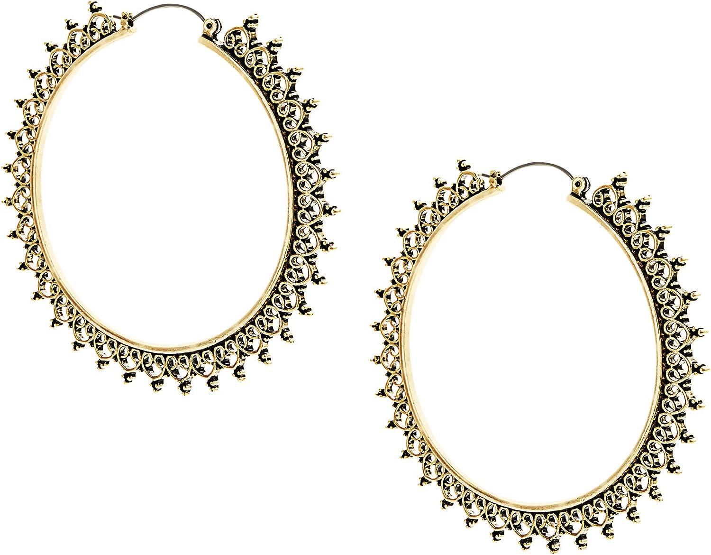 Steve Madden 65mm Yellow Gold Tone Crown Design Hoop Earrings For Women