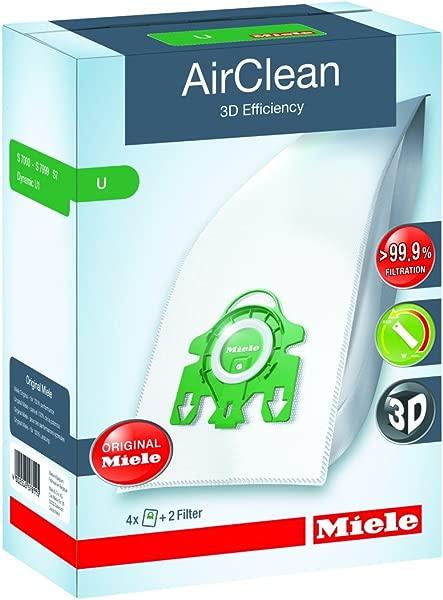 Miele 10123230 AirClean 3D Efficiency Dust Bag Type U 4 Count 2 Air Filters