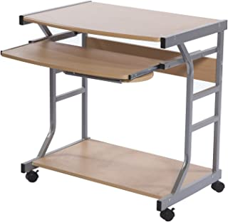 Target Marketing Systems Berkeley Collection Contemporary Computer Desk with Sliding Keyboard Tray, Mouse Tray, Bottom Shelf, and 4 Caster Wheels, Wood/Silver