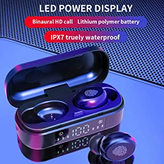 FairOnly V8 Wireless Earphones Blueteeth 5.0 Headset Mini Stereo Headphones Touch Control Sports Earbuds with 350mAh Charging Compartment Electronics