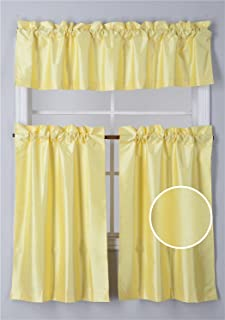 Elegant Home Collection 3 Piece Solid Color Faux Silk Blackout Kitchen Window Curtain Set with Tiers and Valance Solid Color Lined Thermal Blackout Drape Window Treatment #K3 (Yellow)