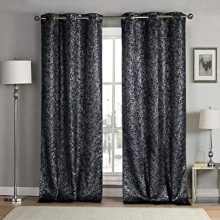 kensie Maddie Silver Metallic Textured Blackout Darkening Grommet Top Window Curtains Pair Drapes for Bedroom, Living Room-Set of 2 Panels, W38 X L96, Black
