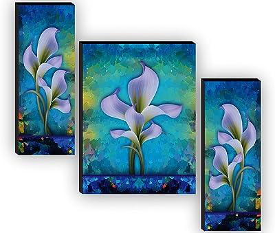 SAF Set of 3 Preety Flower Home Decorative Gift Item Self Adeshive UV Textured MDF Framed Painting 12 Inch X 18 Inch SAF-JM7731