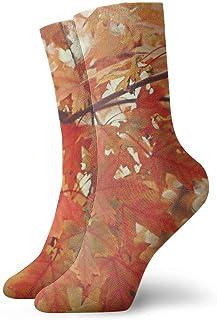 Kevin-Shop, Calcetines de compresión Antideslizantes con Hoja de Arce roja otoñal, Calcetines Deportivos acogedores de 11,8 Pulgadas para Hombres, Mujeres y niños