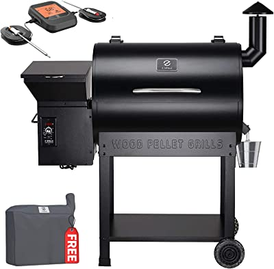 Z GRILLS Wood Pellet Smoker with Bluetooth Wireless Meat Thermometer, 700sq in 8-1 BBQ Grill,Auto Temperature Control Pellet Smoker(Cover,Oil Collector Included)-7002B Pro