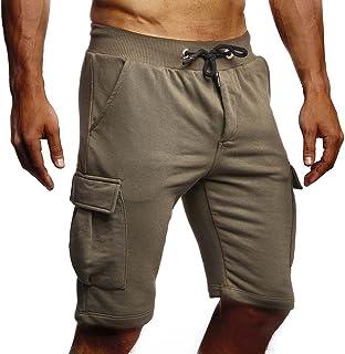 Leif Nelson men's summer short jeans cargo shorts jogger short trousers basic 3/4 trousers 5-pocket jogging trousers leisure trousers Bermuda sports trousers slim fit LN8205